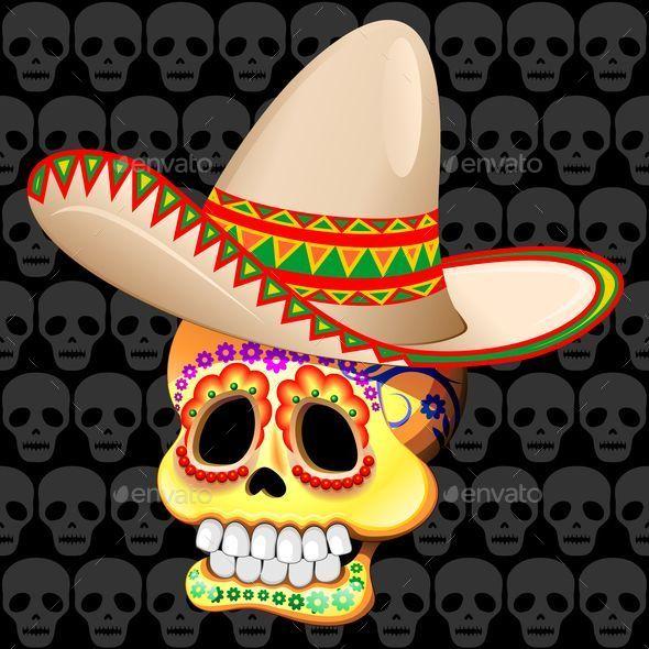 mexico sugar skull with sombrero halloween seasonsholidays - Mexican Halloween Skulls
