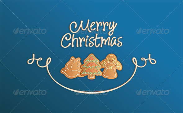 Merry Christmas Cookies Card Blue - Christmas Seasons/Holidays