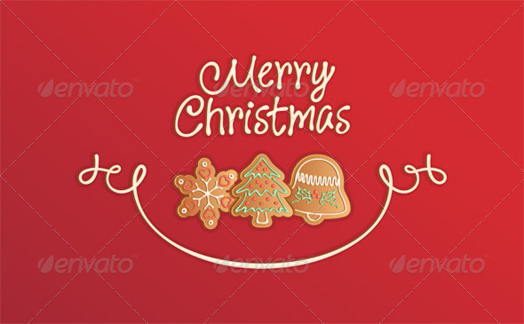 Merry Christmas Cookies Card Red by stoat | GraphicRiver