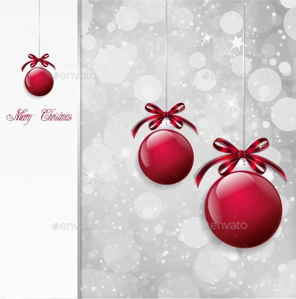 Red Christmas Balls on Shiny Card. Vector - Christmas Seasons/Holidays