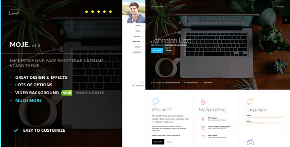 Moje. – Responsive Bootstrap Personal Resume vCard HTML/CSS Theme