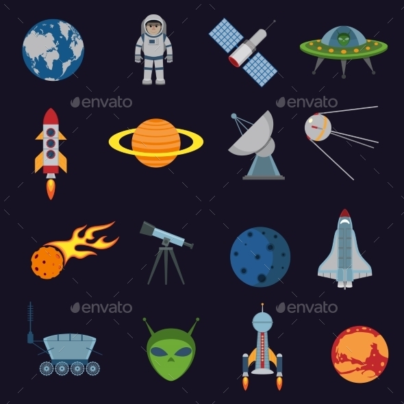 Space and Astronomy Icons - Web Technology