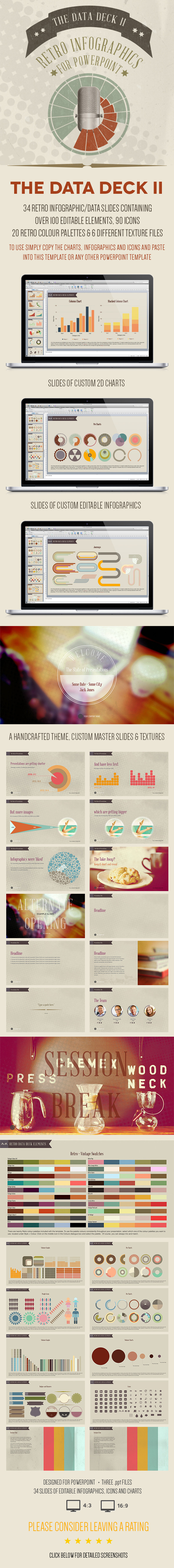 The Data Deck II: Retro Powerpoint Infographics - PowerPoint Templates Presentation Templates