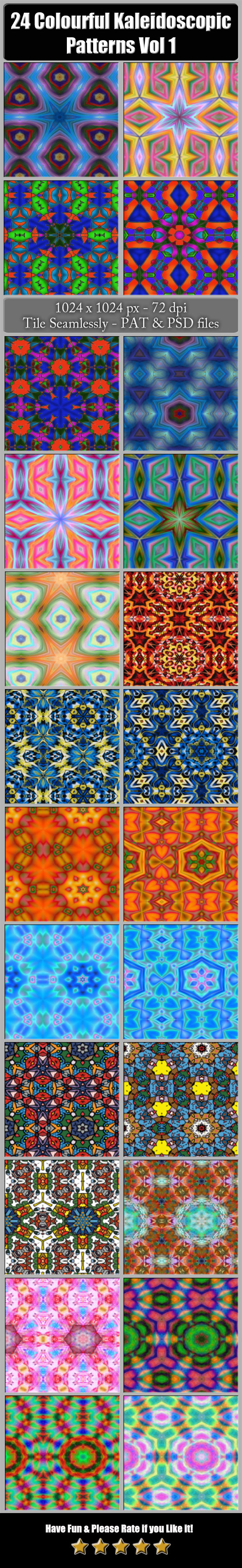 24 Colourful Kaleidoscopic Patterns Vol. 1 - Artistic Textures / Fills / Patterns