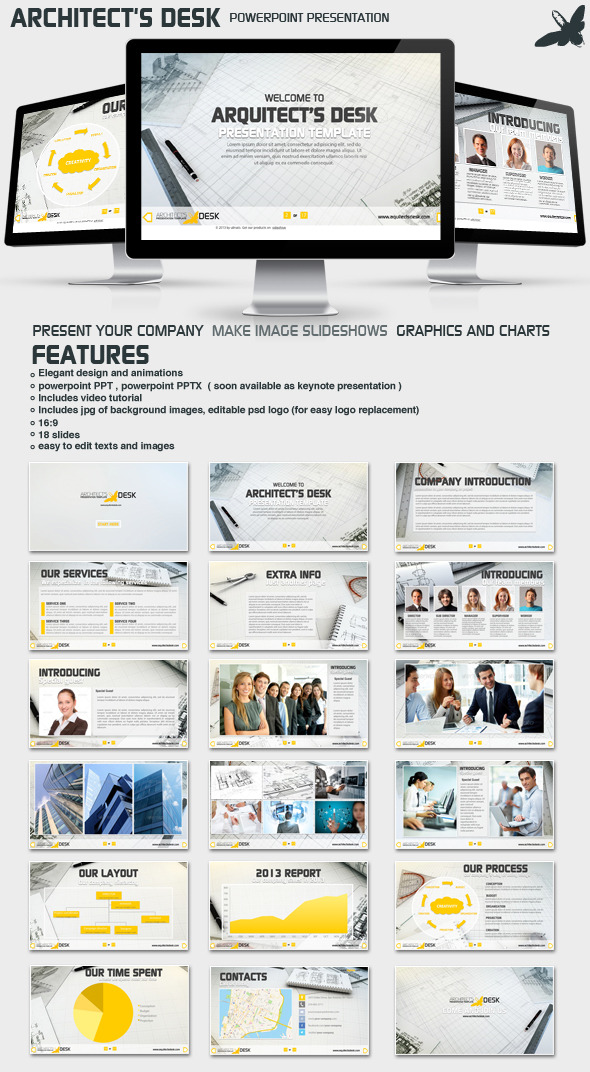 Architects Desk Presentation - Business PowerPoint Templates