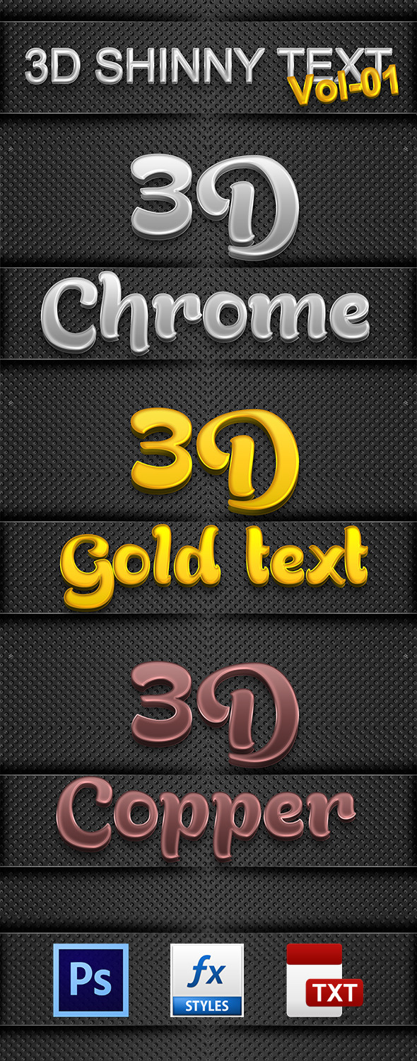 3D Shinny Text Vol-01 - Text Effects Actions