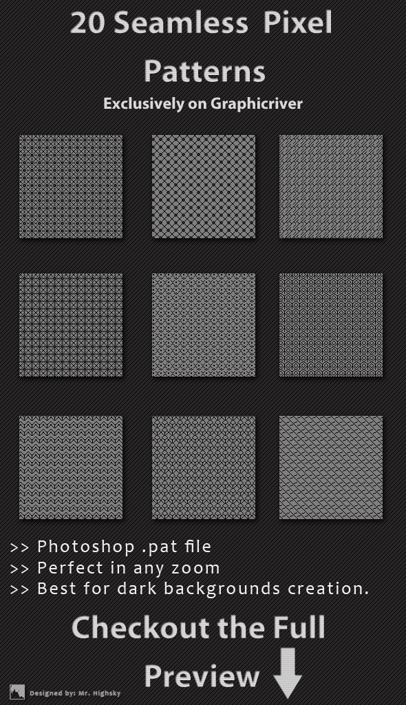 20 Seamless Pixel Patterns - Textures / Fills / Patterns Photoshop