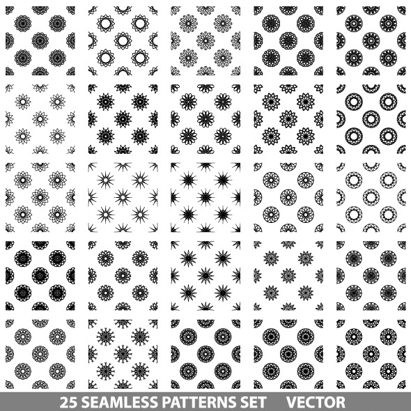 Vector Seamless Patterns Set - Textures / Fills / Patterns Illustrator