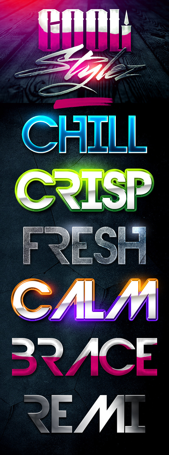 Cool Stylez Varied Photoshop Layer Styles - Text Effects Styles