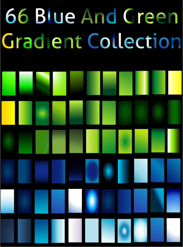 Blue And Green Gradient Collection For Illustrator - Illustrator Add-ons