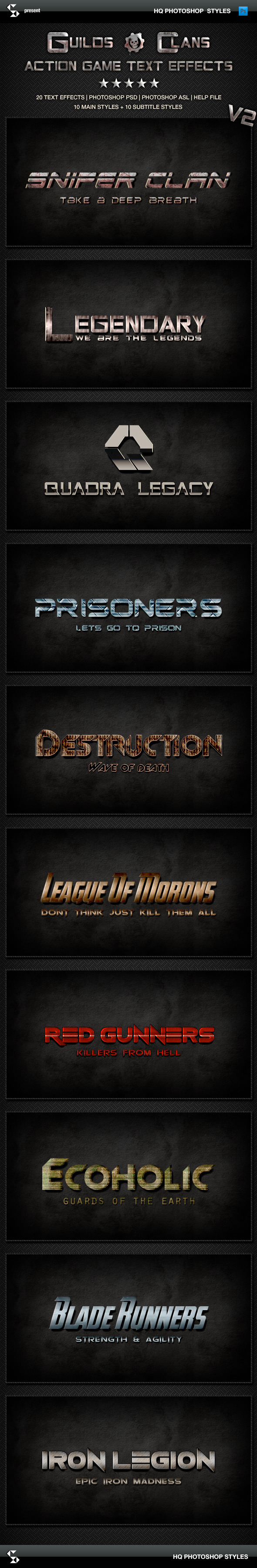 Action Game Styles - Guilds and Clans V2 - Text Effects Styles
