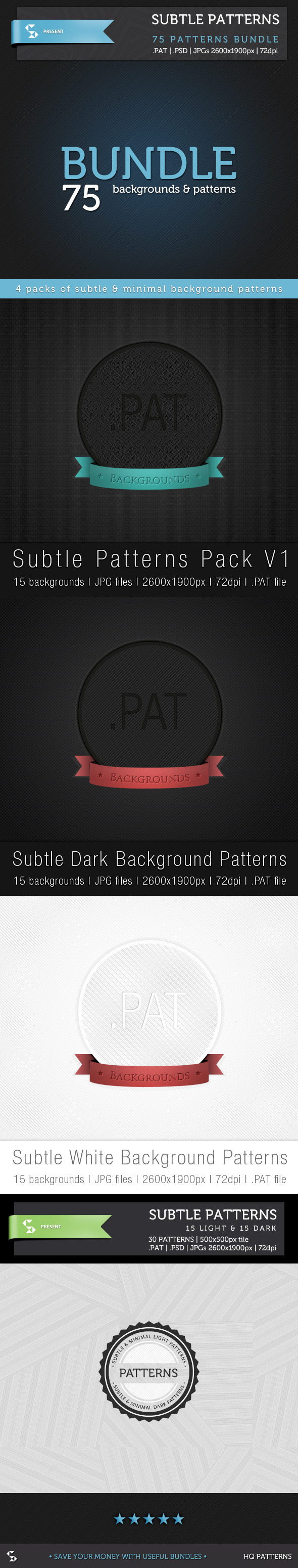 Subtle Background Patterns - Bundle - Textures / Fills / Patterns Photoshop