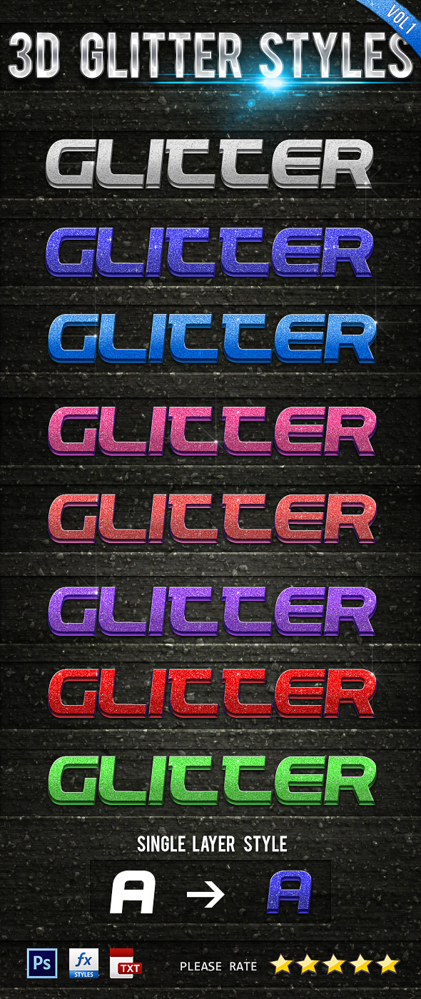 3D Glitter Styles Vol 1 - Text Effects Styles
