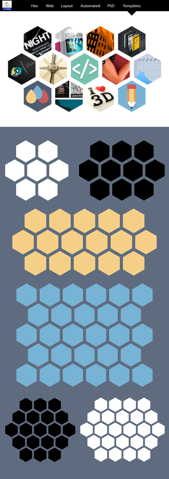 Hex Web Layouts Automated PSD Templates - Actions Photoshop