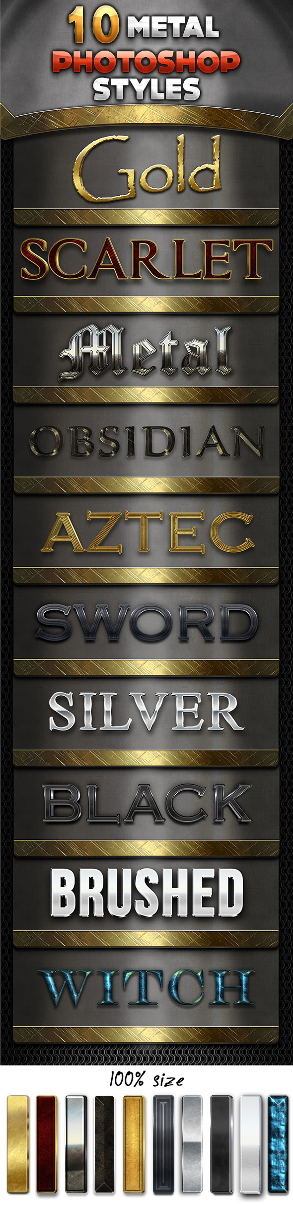 10 Metal Styles Pack - Text Effects Styles