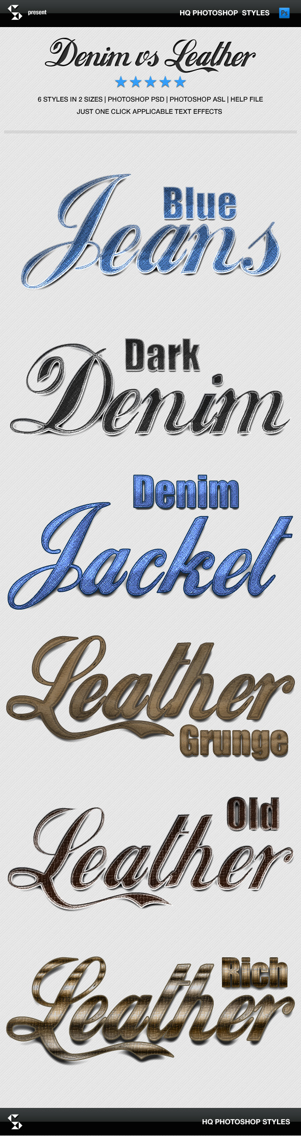 Denim and Leather Styles - Jeans and Leather - Text Effects Styles