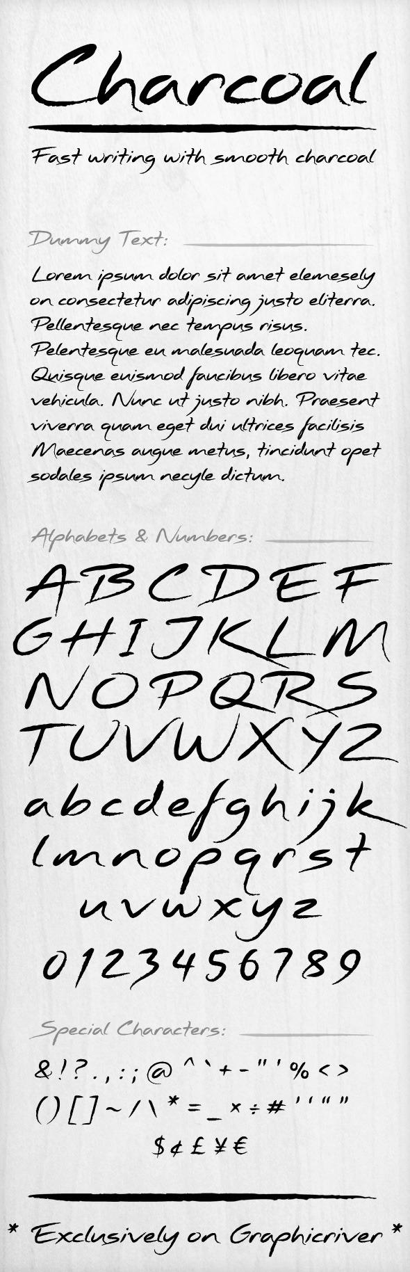 Charcoal Font - Hand-writing Script