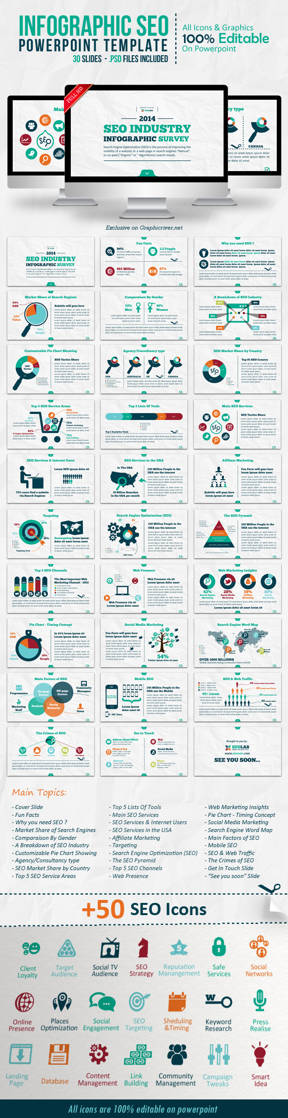 Infographic SEO Powerpoint Template - Creative PowerPoint Templates