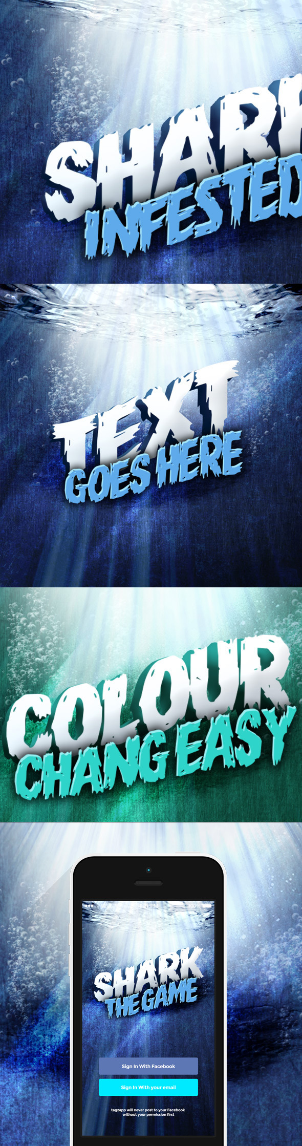 3D Underwater Text Mockup - Photoshop Add-ons