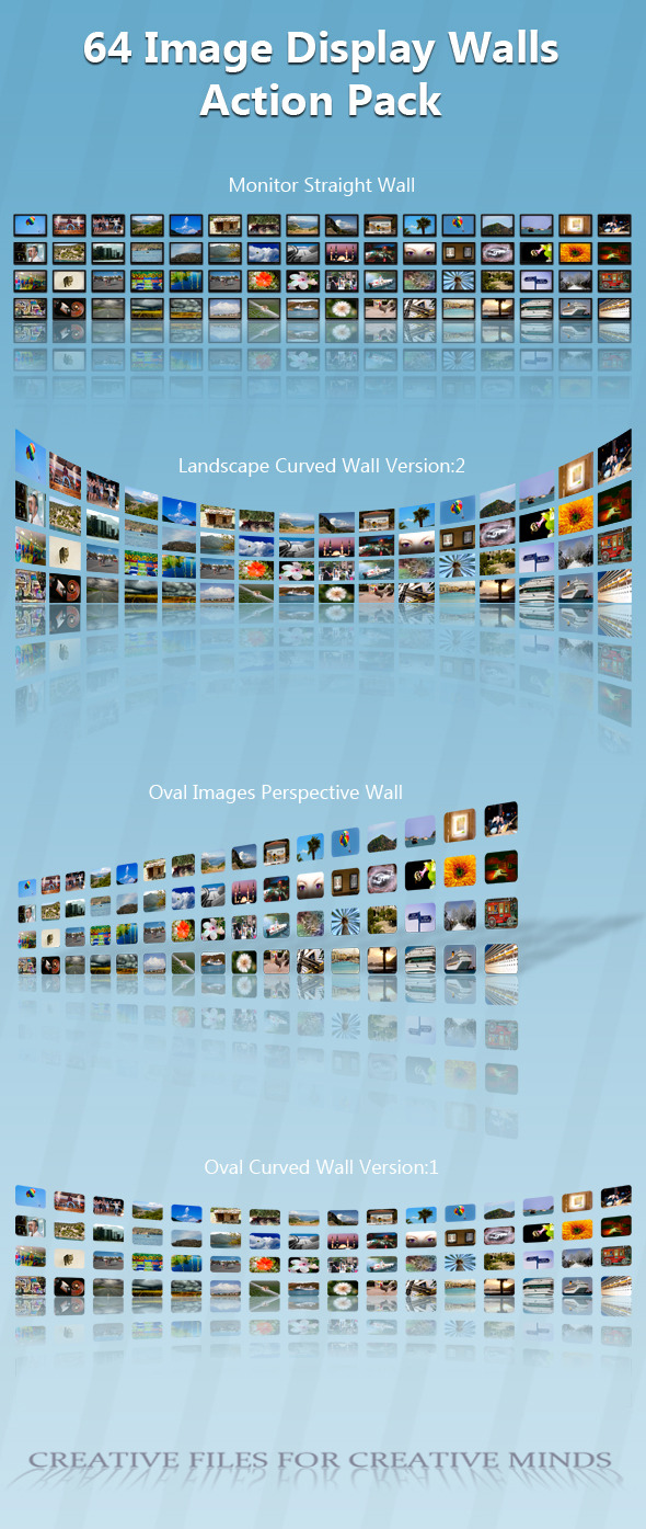 64 Image Display Wall Action Pack - Actions Photoshop