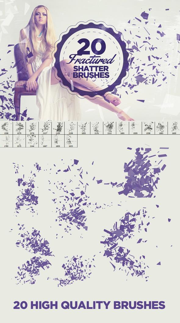 20 Fractured Shatter Brushes - Brushes Photoshop