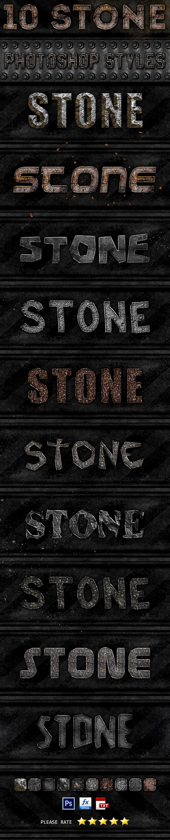 10 Stone Photoshop Styles - Text Effects Styles