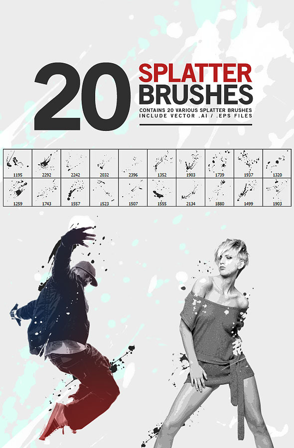 20 Splatter Brushes - Artistic Brushes
