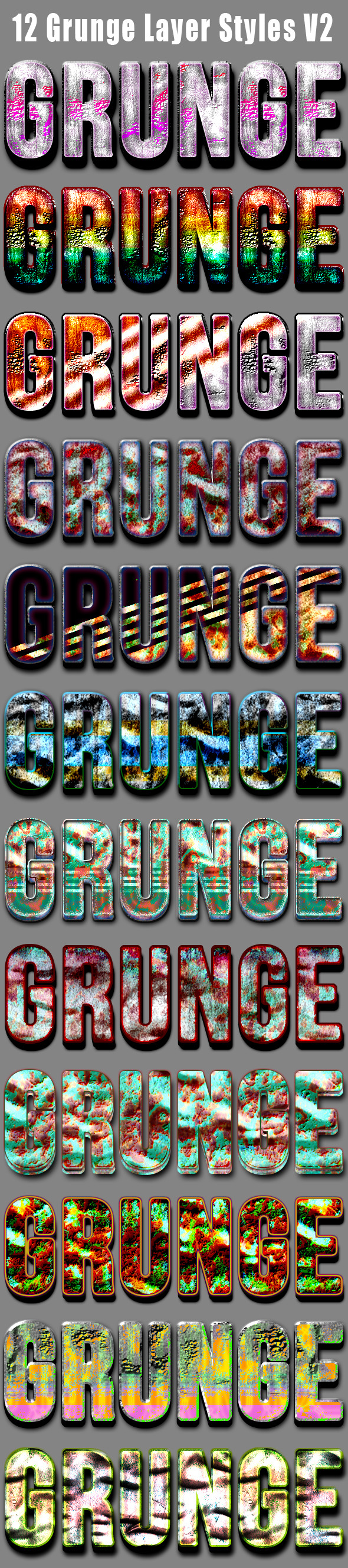 12 Grunge Layer Styles V2 - Text Effects Actions