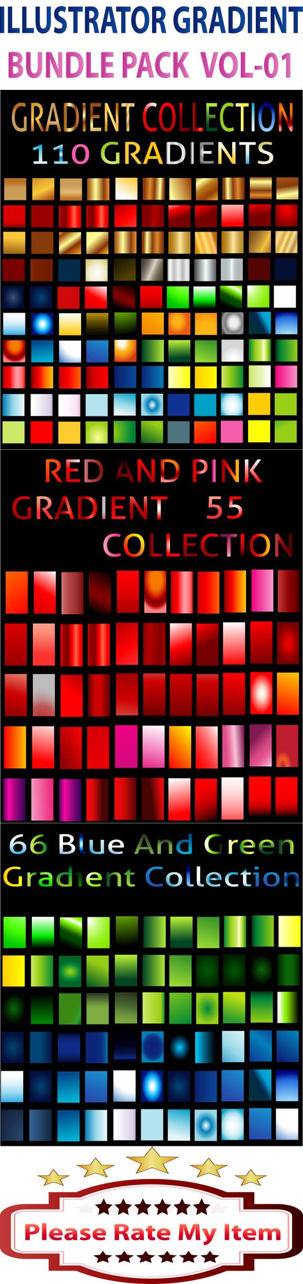 Illustrator Gradient Bundle Pack Vol-1 - Illustrator Add-ons