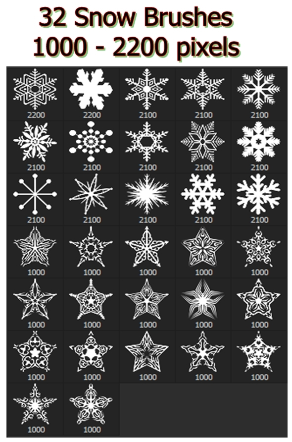 Snowflakes Vol.II - 32 Brushes Set - Miscellaneous Brushes