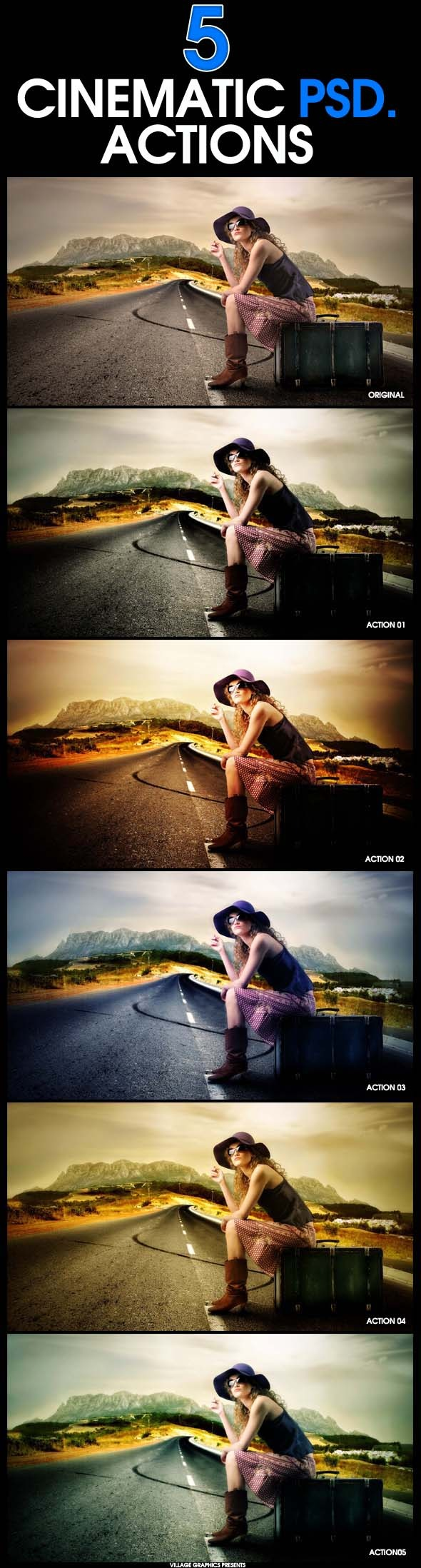 5 Cinematic Photoshop Actions - Actions Photoshop