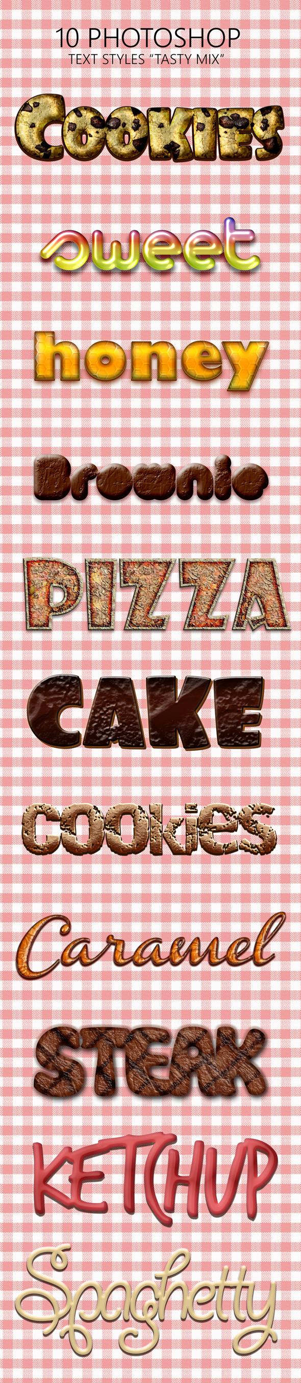 "10 Photoshop Styles ""Tasty Mix"" - Text Effects Styles"