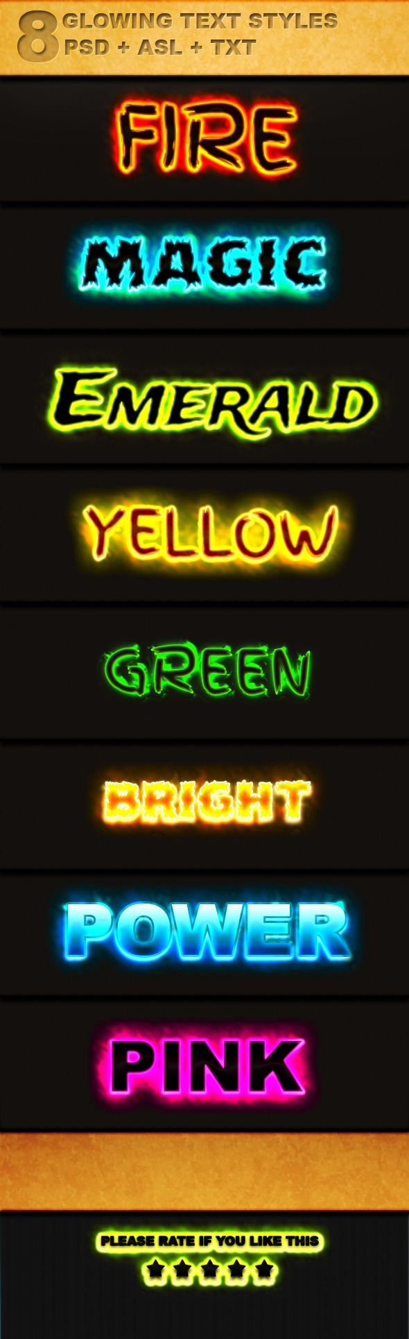 8 Glowing Text Style - Text Effects Styles