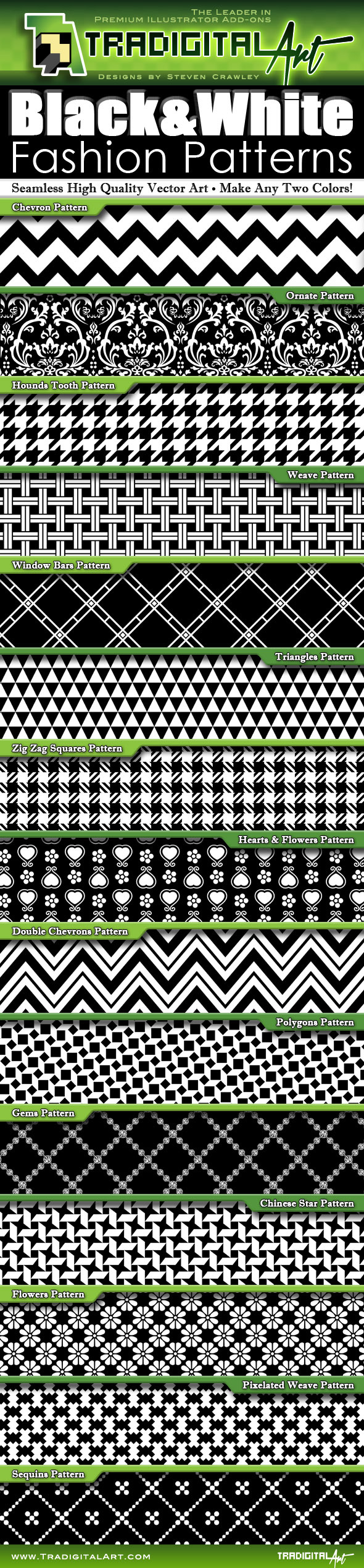Black & White Fashion Patterns - Miscellaneous Textures / Fills / Patterns