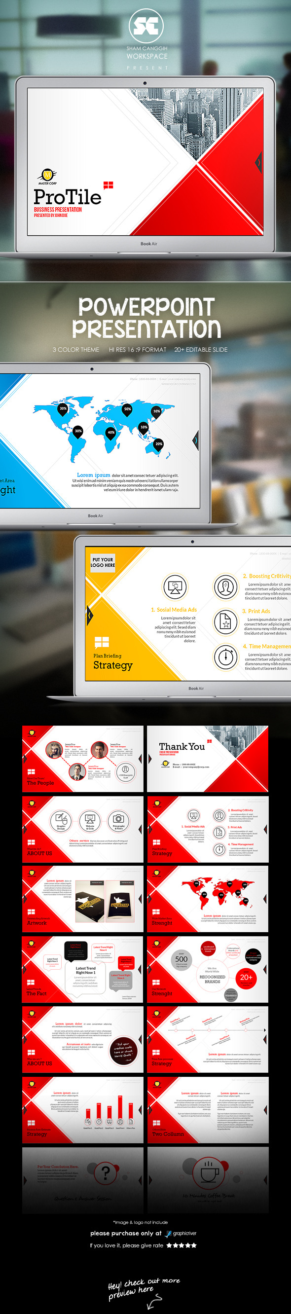 ProTile : Modern Corporate Presentation - PowerPoint Templates Presentation Templates