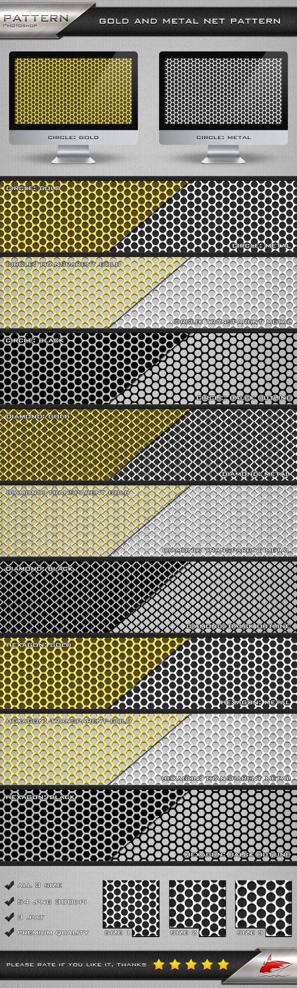 Gold and Metal Net Pattern - Textures / Fills / Patterns Photoshop