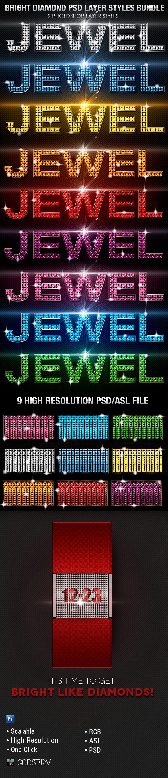 Bright Diamond Photoshop Layer Styles Bundle - Text Effects Styles
