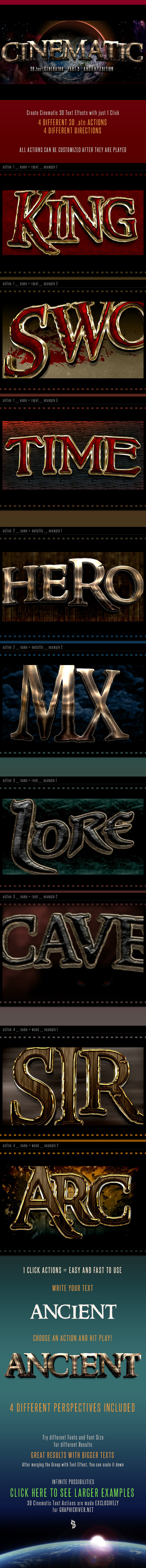 3D Cinematic Text Generator 3 - Actions - Actions Photoshop