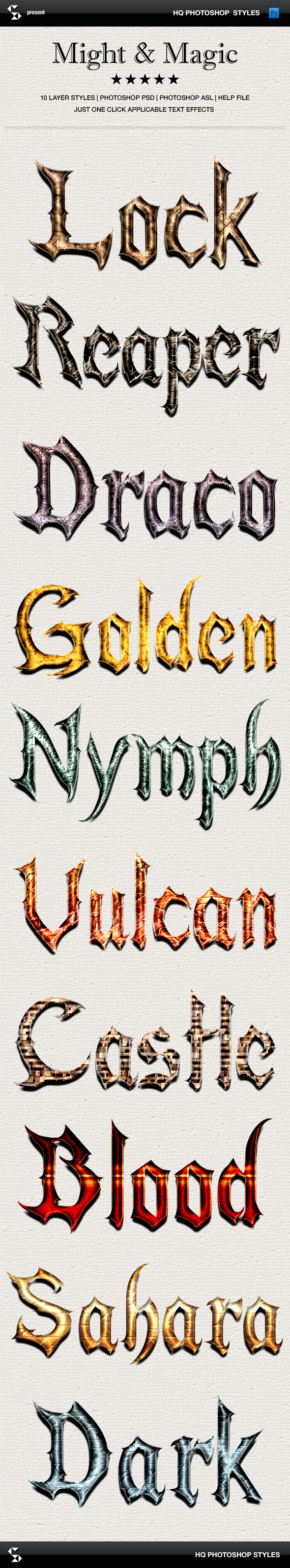 Fantasy styles - Might and Magic - Text Effects Styles