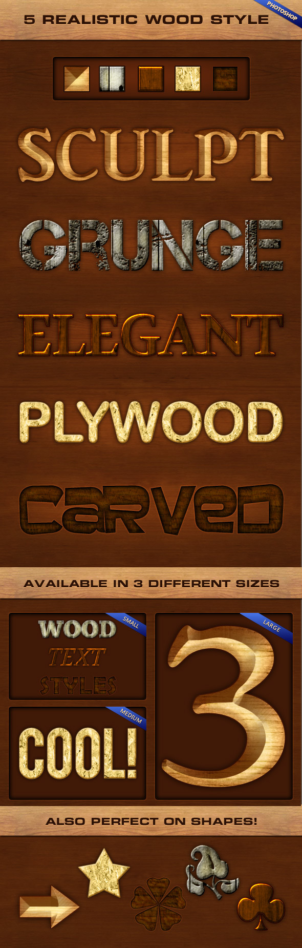 5 Realistic Wood Styles - Text Effects Styles