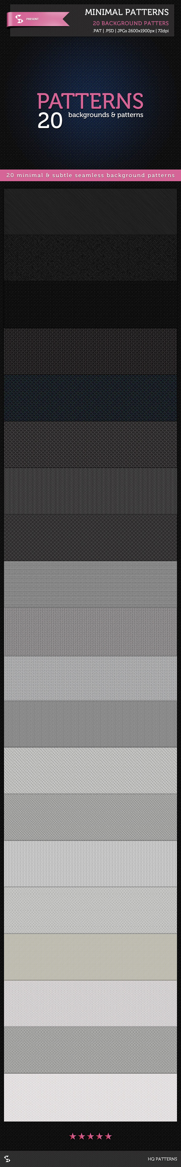20 Minimal Patterns - Subtle Background Patterns - Textures / Fills / Patterns Photoshop