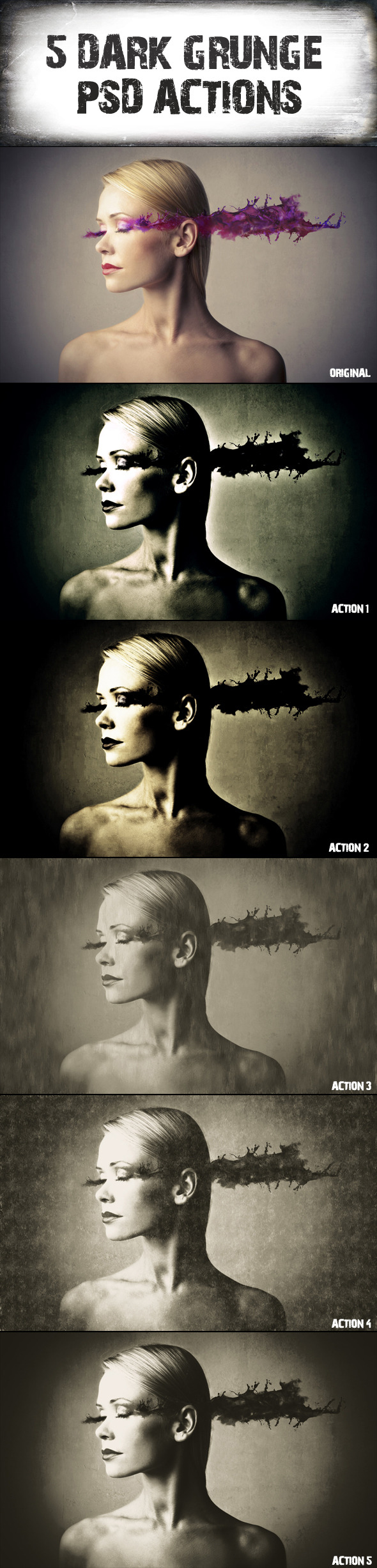 5 Dark Grunge Psd. Actions - Actions Photoshop