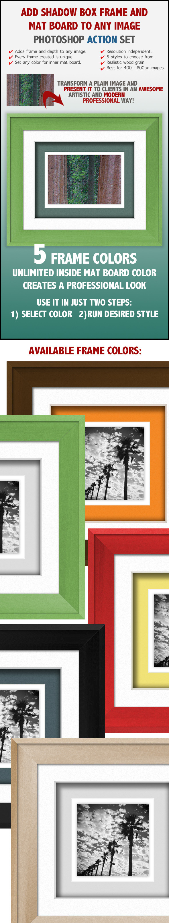 Shadow Box Wood Frame Actions - Photo Effects Actions