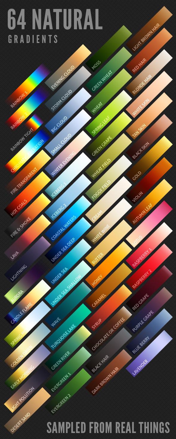 64 Natural Gradients - Nature Textures / Fills / Patterns