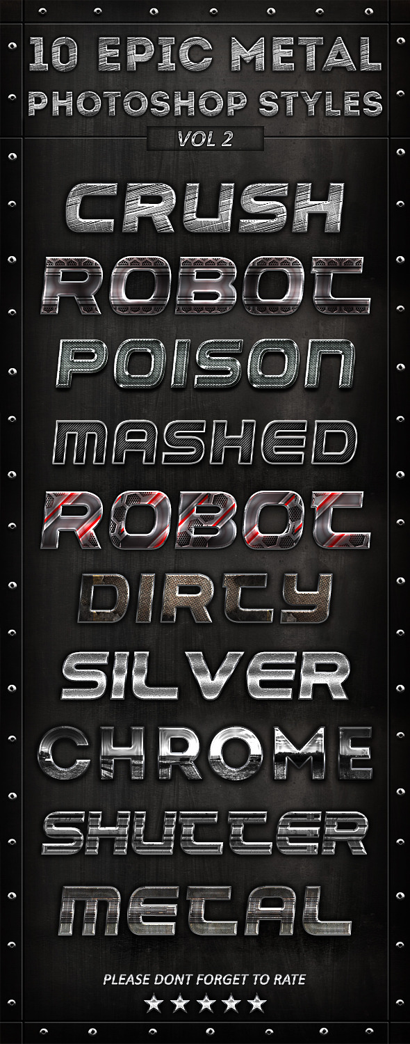 10 Epic Metal Photoshop Styles Vol-2 - Text Effects Styles