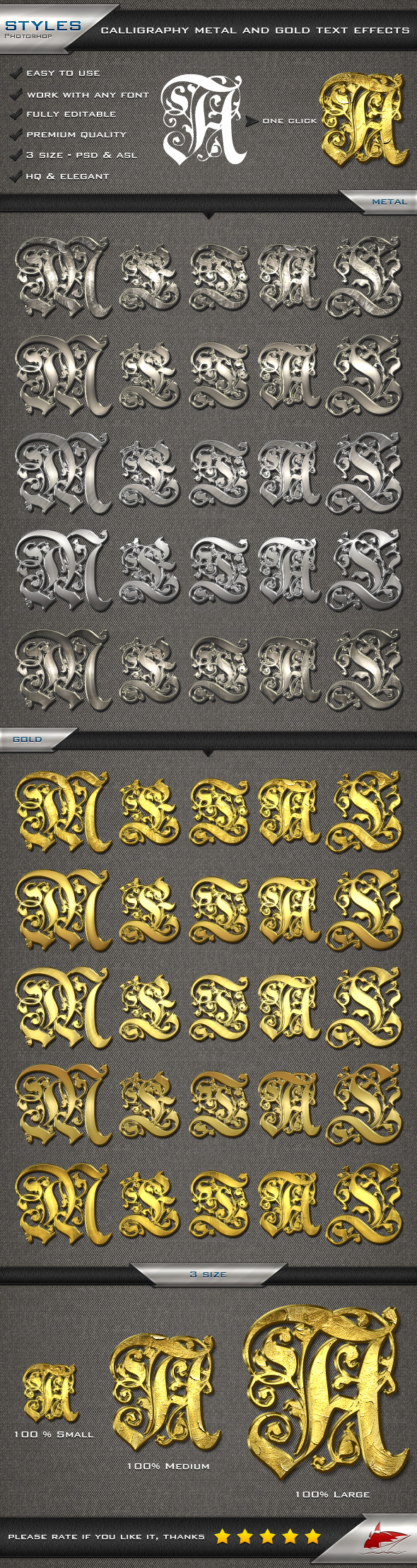 Calligraphy Metal and Gold Text Effects - Styles Photoshop