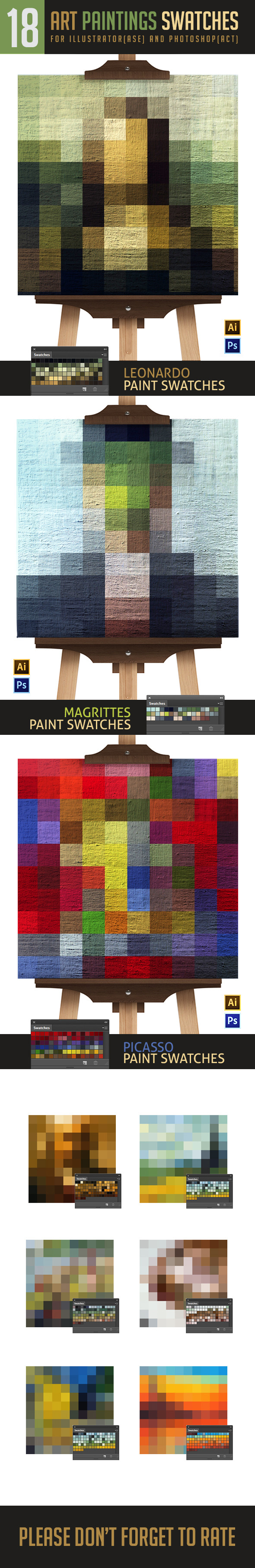 Famous Paintings Swatches For Photoshop and Illust - Illustrator Add-ons