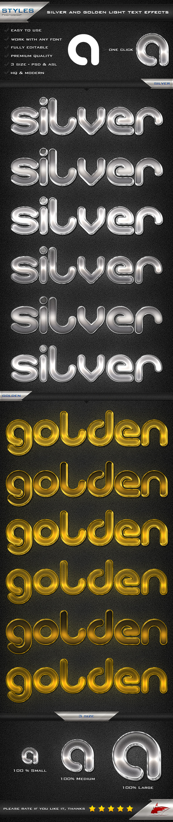 Silver and Golden Light Text Effects - Styles Photoshop