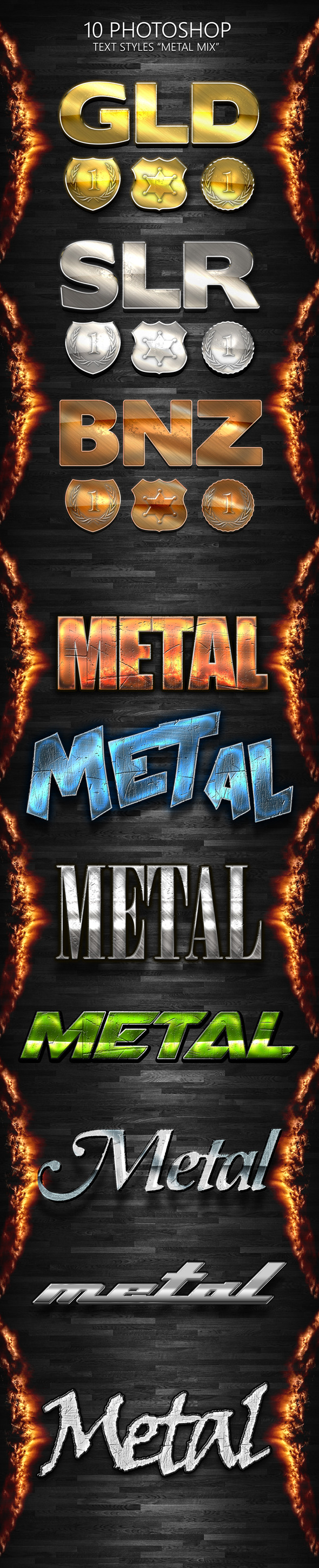 "10 Photoshop Styles ""METAL MIX"" - Styles Photoshop"