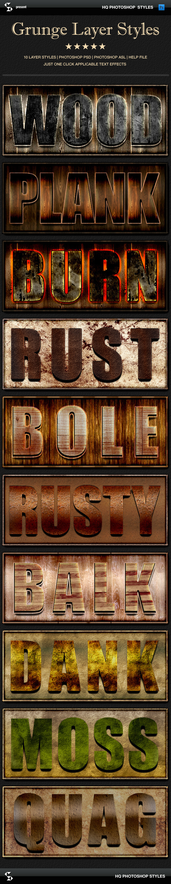 Grunge layer styles - wood, rust, nature - Text Effects Styles